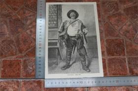 【現貨 包郵】1890年小幅木刻版畫《總是歡樂的》( immer fidel)尺寸如圖所示(貨號400707)