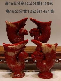 雞血石龍鳳杯,純天然石手工雕刻 雕工精美 做工精致 石質通透 手感細膩滑潤 品相完整1400一對