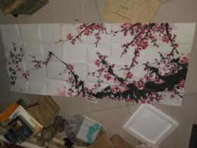 中国美协会员,齐齐哈尔市美协副主席,张充吕,画,梅花一幅,横幅,尺寸55--136厘米