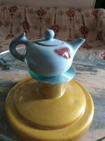 天蓝釉飘红钧瓷小茶壶