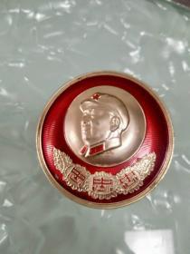 毛主席像章4.6厘米1968年兰州大学革命委员会 无限忠于毛主席像章