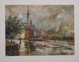 老油画《上海老街》