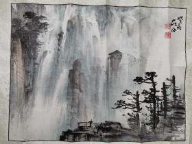 天津著名画家王学仲山水原装老裱2
