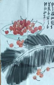 [永久保真]著名画家中国美协会员河南省美协副主席张毅敏国画《红了樱桃绿了芭蕉》四尺三裁精品