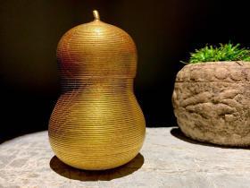 回流,民國葫蘆形,一塊料挖實木大漆涂真金茶葉罐