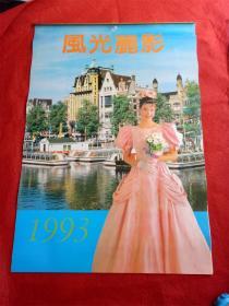 怀旧收藏挂历《1993风光丽影 美女》12月全内蒙古人民出版社