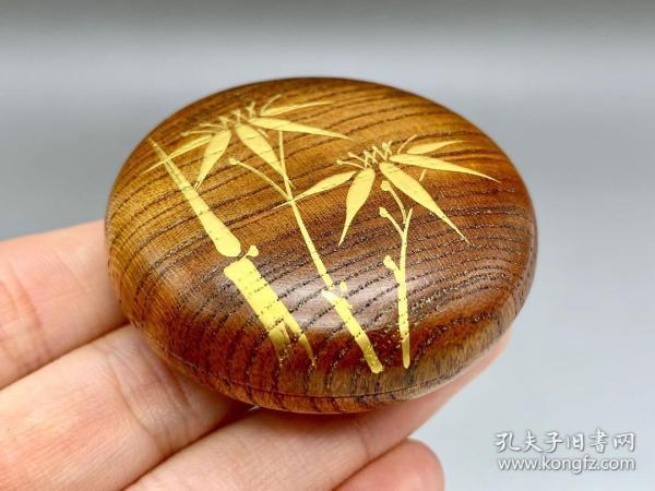 民國,一塊桐木挖,手繪24k真金竹香盒
