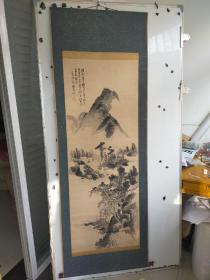 约民国时期  老山水画立轴 作者不识 原装旧裱。画心 尺寸138x52