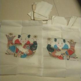 楊家埠木版年畫一 原版手工印.袋裝,年年有魚一對,年畫研究所制