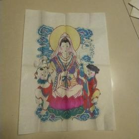 楊家埠木版年畫一 原版手工印.袋裝,南海觀音一個,年畫研究所
