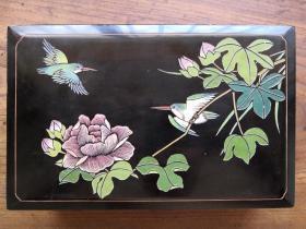 民國大漆剔雕填彩花鳥收納盒首飾盒文玩盒