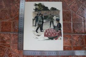 【現貨 包郵】1890年小幅木刻版畫《在跑道上拍攝》(schiessen auf laufschei)尺寸如圖所示(貨號400700)