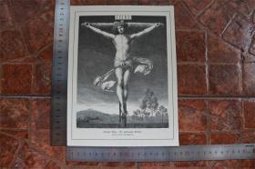 【現貨 包郵】1890年小幅木刻版畫《釘在十字架上的基督》(der gekreuzigte christus)尺寸如圖所示(貨號400701)