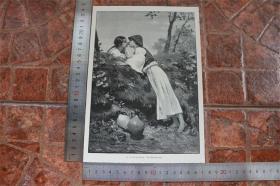 【現貨 包郵】1890年小幅木刻版畫《約會》(das rendezvous)尺寸如圖所示(貨號400703)