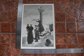 【現貨 包郵】1890年小幅木刻版畫《在期待》(in banger erwartung)尺寸如圖所示(貨號400705)