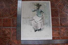 【現貨 包郵】1890年小幅彩色木刻版畫《在林蔭大道咖啡廳》( im boulevard-café)尺寸如圖所示(貨號400709)