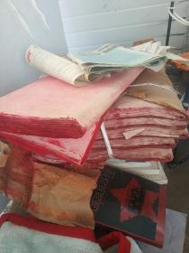八十年代手工老紅紙【共6疊十七八公斤】
