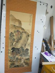 约民国时期  绢本老山水画立轴 作者不识 画心尺寸131x52