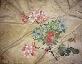 约民国前后绢本花卉2幅合售