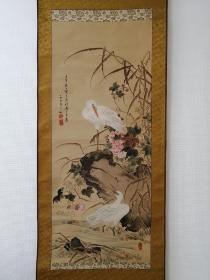 泷和亭 双鹭图 手绘 晚清 日本回流字画 老字画 国画