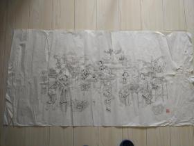 杨柳青木板年画,大贡尖《琴棋书画》80年代老画稿 。墨线有修补,杨柳青画社库存底稿,非常漂亮,有破损,完整可修补。