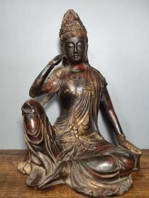 旧藏老铜胎泥金开光撒朱砂佛像自在观音菩萨