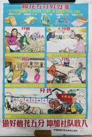 六十年代  二开 宣传画  《棉花五分好处多》  1965年  中国棉业公司山西省公司