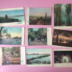 亏本 老画片,西湖名胜,9张,约五十年代,背面有字,不知道算不算明信片