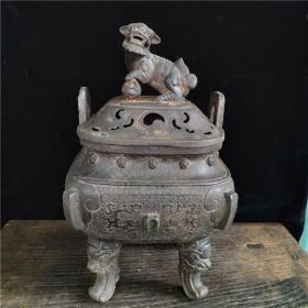 古董古玩 热卖收藏 老铁器四方狮子盖香熏炉雅居茶舍客厅实用摆件