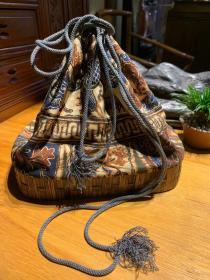 日本老貨,竹編便攜茶具布袋