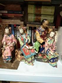 陶艺大师 林乃河-陶人-清代人物陶俑一组3件