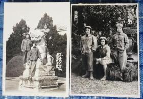 1955年华东军区女兵在南京山陵合影老照片二张