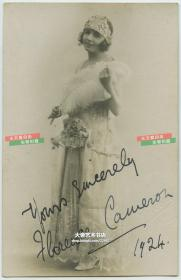 民国1924年女演员Horace Cauceior亲笔手写签名照片一张,13.6X8.7厘米