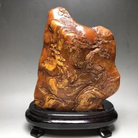 珍品 篆刻家壬午年之元作 寿山石田黄石原石雕刻《松下雅聚》摆件闲章