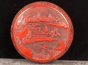 剔紅漆器收納盒高9.5cm   直徑23.5cm