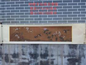 林椿手繪絹本花鳥橫幅