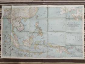 National Geographic国家地理杂志地图系列之1944年10月 Southeast Asia and Pacific Islands 二战时东南亚及太平洋地图