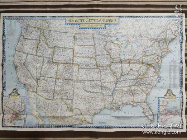 National Geographic国家地理杂志地图系列之1951年6月 The United States of America 美国地图