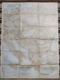 National Geographic国家地理杂志地图系列之1951年9月 Central Europe including The Balkan States 中欧巴尔干半岛地图