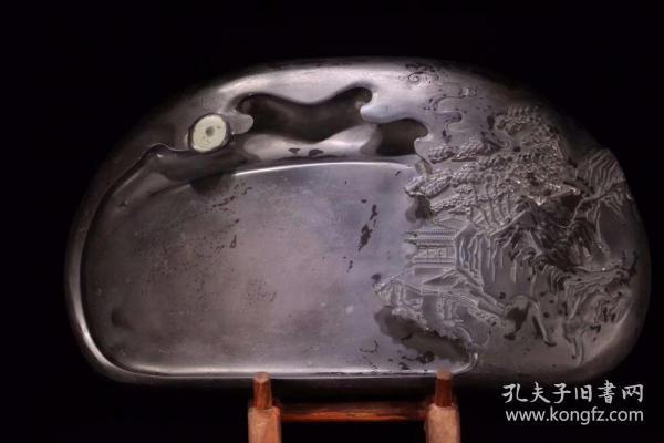 舊藏 老坑端石帶眼人物風景硯臺