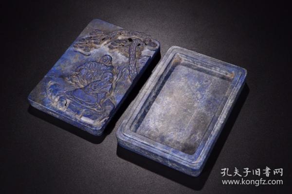 清代:青金石松下羅漢硯盒