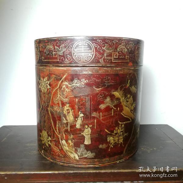 老帽盒清代彩繪描金刀馬人物開月皮制帽盒古玩古董大漆官皮盒
