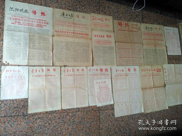 號外15張--毛主席接見紅*兵--沈陽晚1966年8月19日、19日(4開4版)、第二次廣西日報9月1日(4開4版)、黑龍江日報、哈爾濱晚報(8開4版)、第三次,江西日報、南昌晚報9月16日等15張.9品