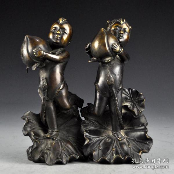 黃銅金童玉女擺件