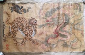 朝鮮李朝民畫,朝鮮民畫,朝鮮老畫龍豹喜鵲圖
