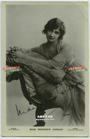 民国早期舞台剧女明星Miss Marjorie Gordon 手写亲笔签名照片一张