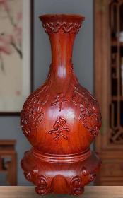 天然花梨木木雕花瓶整个木头做成高15厘米