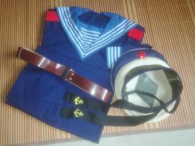 七八十年代74、78年老海军战士春秋夏海蓝色的确良布料水兵服水手服制服一全套经典收藏