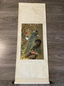 年画 姚景卿绘 春明翠羽 143*53 卷轴画 画芯65*40厘米 天津杨柳青画社1985年一版一印