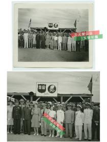 民国1945-1946年二战结束时期,美军海军陆战队第96师SeaBees海蜂部队在山东青岛部署驻扎,国军美军将领合影,日侨撤离等老照片一组15张